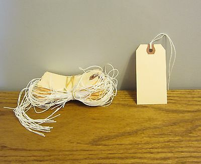 """25 Avery Dennison Pre Strung  #3 Blank Shipping Tags 3 3/4"""" By 1 7/8"""" Scrapbook"""