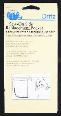 1pc White Sew-On Side Replacement Pocket Trouser Jacket Coat Prym Dritz 55453-61