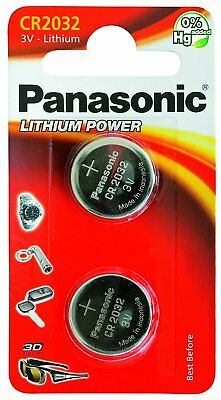 2 X Panasonic CR2032 Lithium Coin Cell 3V Battery Car Key Fobs Toys Remote