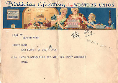 1942 Benson Minnesota Birthday Greeting by Western Union
