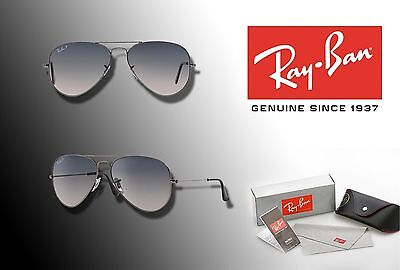 NEW Ray-Ban 58mm AVIATOR Gunmetal Frame / Gray Polarized Lens SUNGLASSES