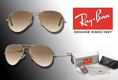 NEW Ray-Ban 58mm AVIATOR CLASSIC Gold Frame / Light Brown Gradient Lens SUNGLASS