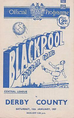 BLACKPOOL v DERBY COUNTY RESERVES ~ 12 JANUARY 1957