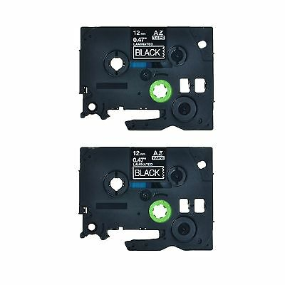 2PK TZ 335 TZe 335 White on Black Label Tape For Brother P-Touch PT-1290RS 1/2""