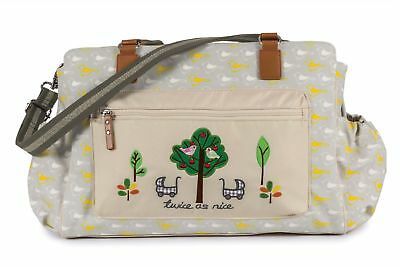 "Pink Lining Sac à langer Twins Bag ""Twice as Agréable"" Jardin Birds"