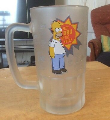 The Simpsons Homer Best Dad In The House Frosted Pint Drinking / Beer Glass