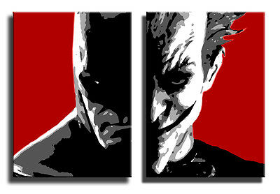 Quadro moderno Batman e Joker dipinto a mano arredo casa pop art idea regalo