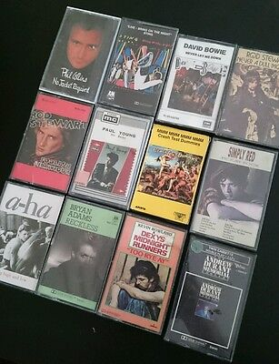 Cassette Tapes 12 Mixed Music artists 80's Inc Carry Storage Case