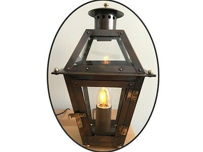 """12"""" TABLETOP Copper Light Fixture with FLAME BULB - New Orleans Style Lantern"""