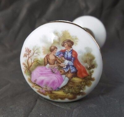 Beautiful Vintage Signed Fragonard Limoges Porcelain Courting Couple Door Knobs
