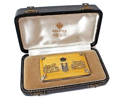 Imperial Russian Silver and Guilloche Enamel Cigarette Case Marked Faberge