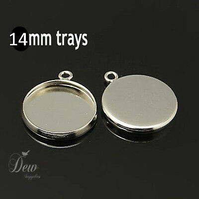 10x 14mm Platinum pendant earring tray trays blank for Cabochon Settings
