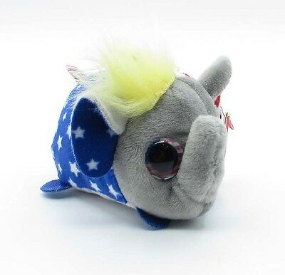 "TY Teeny Tys Plush Stuffed Toys SJ139 4"" Stackable Vote Repuplican Elephant"