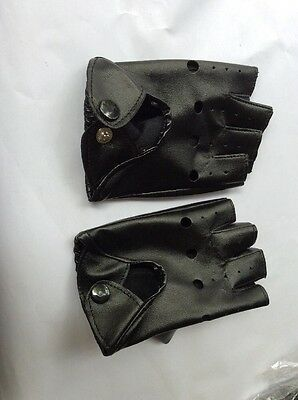 New Costume Punk Fingerless Gloves Black pu thin Leather Look x small