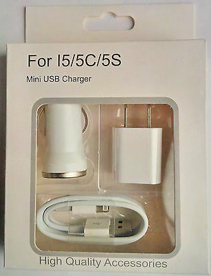 Charging Kit for iPhone 5/5C/5S/6/6Plus/7/7Plus Cable+Car Charger+Wall Charger