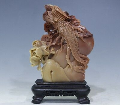 Exquisite China natural Shoushan Stone Hand carving Phoenix &peony flower statue