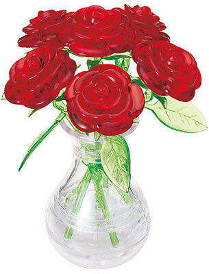 """3D PUZZLE  47 PIECES """"Roses vase - Red"""" / CRYSTAL PUZZLES"""