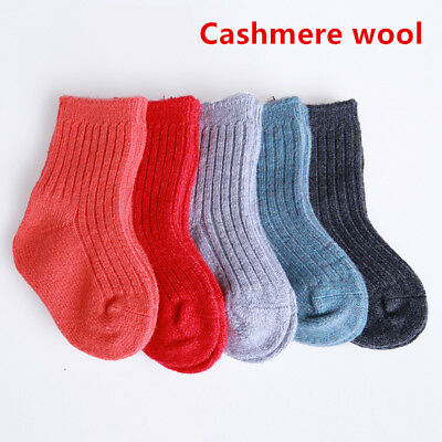5 Pairs Lot Baby Toddler Boys Girls Kid 100% Cashmere Wool Thick Warm Soft Socks