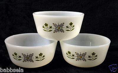 Vintage Anchor Hocking Fire King Meadow Green 3 Custard Cups Floral