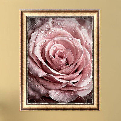DIY 5D Diamond Pink Rose Painting Embroidery Cross Stitch Crafts Home Decor
