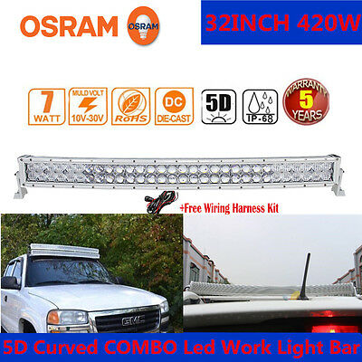 """White OSRAM 32"""" 420W 5D Curved LED WORK LIGHT BAR COMBO Offroad 4WD CAMPER SUV"""