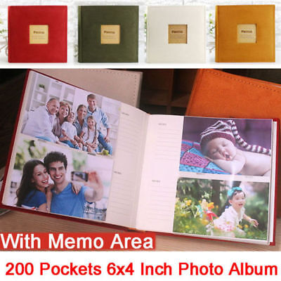 200 Pockets Slip In Photo Album 6x4 Inch With Memo Area Family Friends Wedding