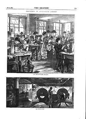 Sketches in Telegraph Street.Ladies fashion.Engine Room.Graphic.1871.Antique