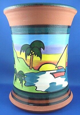 MOUNTAIN ASH POTTERY Australia TERRACOTTA Hand-painted COASTAL LARGE VASE in Aus