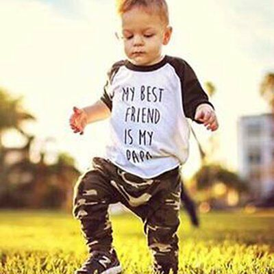 2pcs Newborn Toddler Baby Boys Clothes T-shirt Tops+Camouflage Pants Outfits Set