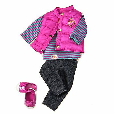 Our Generation Vest Friends Forever Outfit - Doll Clothes Jeans Top Shoes Gilet