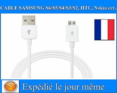 Micro Cable USB Data Chargeur Samsung Galaxy Note S6 S5 S4 S3 LG HTC Nokia Sony