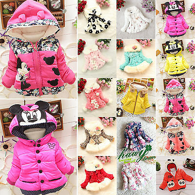 Kids Girls Winter Warm Padded Hooded Coat Jacket Parka Toddler Outerwear Clothes