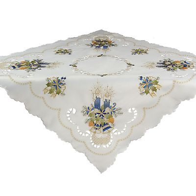 """Blue Candle Advent Christmas Tablecloths Topper Cover White 34 x 34"""" / 85x85 cm"""
