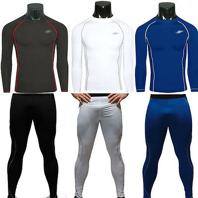 Mens Compression Thermal Armour Skins Long Sleeve Base Layers Tights Shirt Pants