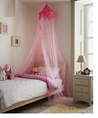 Large-230cm-Pink-Princess-Bed-Canopy-Crown-Stars-Net-Kids- for Girls