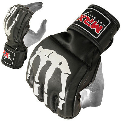 RDX MMA Gloves Grappling Glove Cage Boxing Fight Blood Design Leather White