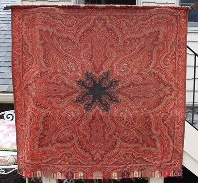 """Vintage Tapestry Wall Hanging Textile w/ Paisley Design ~ 66"""" x 66"""""""