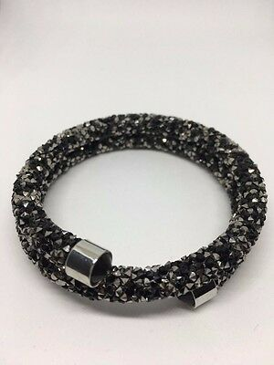 NEW BLACK/SILVER DOUBLE CRYSTALDUST Made With SWAROVSKI CRYSTALBANGLE CUFF XMAS