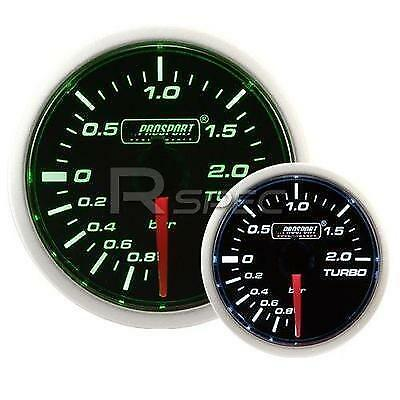 Prosport 52mm Boost Gauge BAR  Switchable: Super Smoked Green / White Turbo