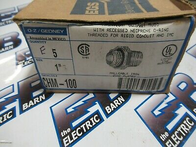 "OZ Gedney CHM-100, BOX OF 5, 1"" Rain Tight Conduit HUBS- NEW"