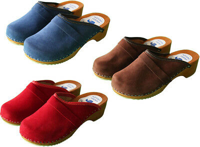 Swedish Danish Velour Clogs Wooden Sole Beach Sandal 100% Leather Upper Size 3-8