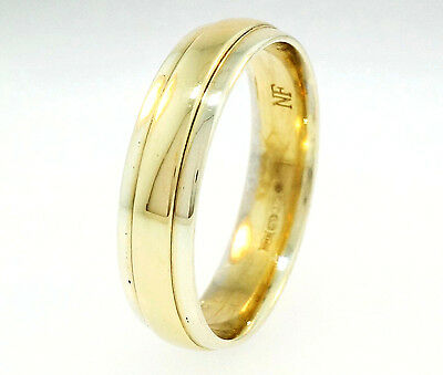 9ct Yellow & White Gold Court Wedding Ring / Band (Size Q 1/2) 5mm Width