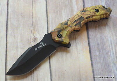 Elk Ridge Camo Fixed Blade Hunting/Skinning Full Tang Knife With Nylon Sheath