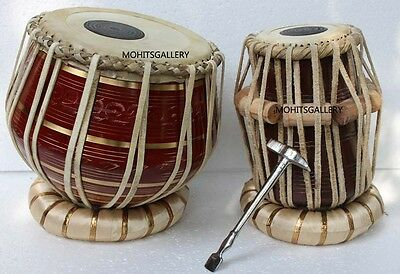 Tabla Drum Chopra Pro Brass Bayan Decorative Wood Dayan Ring+Hammer+Box Free!