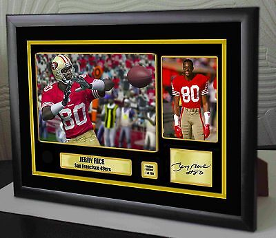 "Jerry Rice San Francisco 49ers Framed Canvas Portrait Signed ""Great Gift"""