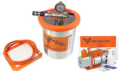 Best Value Vacs 1.5 Gallon Tall Stainless Steel Vacuum Chamber and 3CFM Vacuum P
