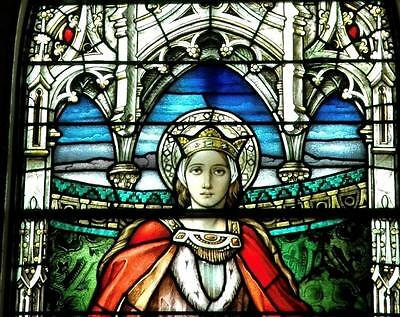 Antique Gothic Stained Glass Church  Window Of St Elizabeth Of Hungary - Jrpaj6