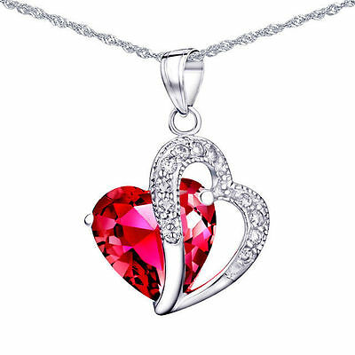 """5.66 Ct Created Red Ruby Necklace Pendant Gemstone 925 Sterling Silver Chain 18"""""""