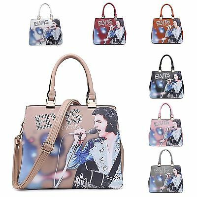 Womens Elvis Presley On Tour Rhinestone Faux Leather Adjustable Strap Hand Bag