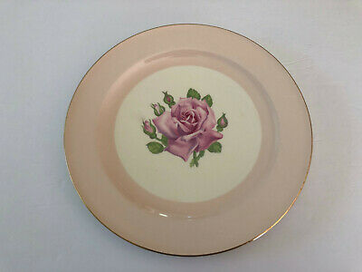 """Edwin KNOWLES KN0601 China Round Pink Band Rose Bud 10-1/4"""" DINNER PLATE"""